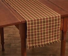 Indian Corn Table Runner 13X54 Red Black Mustard Brown Plaid Ribbed Cotton