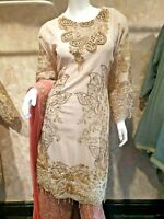 Indian Pakistani Shalwar Kameez Salwar Suit Designer Wedding Dress Nude Pink