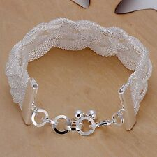 Fashion 925Sterling Solid Silver Jewelry Weave Mesh Bracelet For Women H253