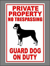 Metal Guard Dog On Duty Sign Private Property No Trespassing Rottweiler New