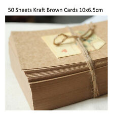 50x Kraft Brown Paper Craft Cards Cardstock 10x6.5CM Wedding Party Place Card