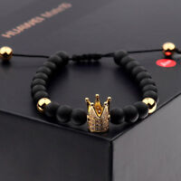 Mens Womens Cubic Zircon Gold Plated Crown Bracelet Beaded Macrame Fashion