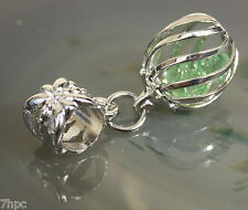 Silver Plated Dangle Ball Sphere Crystal Charm Pendant Reiki Blessed all colours