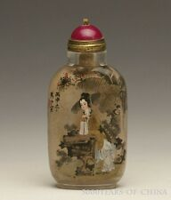 "3.28"" Double Side ""Lady Rresting in Shade"" Old Inside Painted Glass Snuff Bottle"