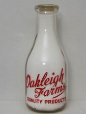 TRPQ Milk Bottle Oakleigh Farms Dairy Quality Products GUERNSEY 1948 LOCATION???