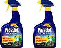 Weedol Pathclear Root Weed Killer 1 Litre Spray Garden Double Action pakc of 2