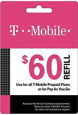 T-Mobile $60 Prepaid Refill Card - Air Time Top-Up RECHARGE Funds Direct Reload