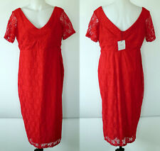 NEW NWT Asos Maternity Red Lace Sweet and Sexy Lined Short Sleeve Midi Dress 12
