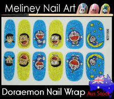 Doraemon Full Cover Glitter Nail Wrap Nail Art Stickers Pattern cartoon manga