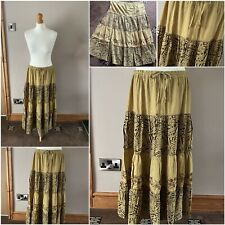 green gypsy skirt size 12 drawstring waist floral design long length cotton used