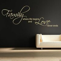 Family Love Life Begin Wall Sticker Quote Decal Stencil Transfer Decor WSD418