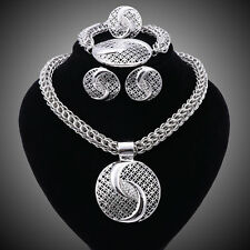 African Beads Silver Plated Crystal Jewelry Set Necklace Earrings Ring Bracelet