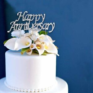 "Happy Anniversary Rhinestone Wedding Cake Topper 3-3/4"" X 1-3/4"" USA Seller"
