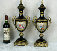 PAIR Cobalt blue acf sevres porcelain victorian scene marked Vases