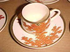 Elegant ORIENTAL Set 6 Cups/Saucers, Orange LEAVES TREES Gold Tone TRIM 1/7