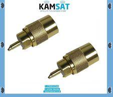 CB Radio Antena Coax Conector Enchufe Adaptador Oro RG58 PL259 6mm Uhf 50 Ohm X2