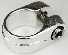 "Old school Suntour style BMX bicycle seat clamp 28.6mm (1 1/8"") SILVER ANODIZED"