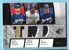 2008 SPX Ryan Braun/Prince Fielder/JJ Hardy Game Jersey Patch 6/25 Brewers