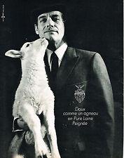 PUBLICITE ADVERTISING 124  1966  PURE LAINE costume homme doux comme un agneau