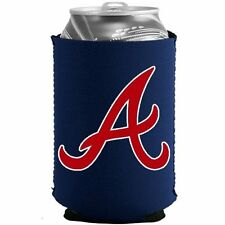 ATLANTA BRAVES BLUE NEOPRENE CAN DRINK COOLER HOLDER WITH RED AND WHITE LOGO A