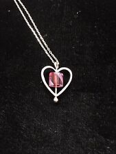 Lucy Bergamini Vitriesse Glass Silver and Pink Heart Necklace