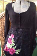 DESIGUAL Funky Embellished  Black Embroidered  Flowers Dress eu 40 8 10 Designer