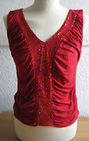BNWT Ladies Wallis Red Top with Sequins - Size 12 petite - sleeveless