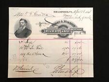 1884 USED BILLHEAD HENRY A. WINSHIP HARDWARE BRADFORD VT ILLUS FOUNDER