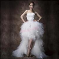 Womens Rhinestone Long Before Short White Feather Bride Wedding Dress New