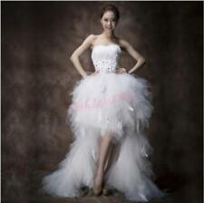 Para Mujeres Estrás mucho antes de Corta Plumas Blancas Novia Boda Vestido Nuevo
