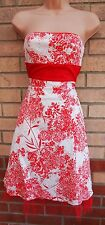 SELECT RED WHITE FLORAL BANDEAU SKATER FLIPPY PROM SUMME TEA RARE DRESS 8 S
