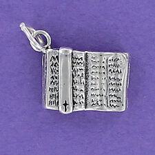 Open Bible Charm Sterling Silver for Bracelet Book Religion Faith Christian Word