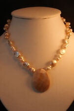 """Beautiful  Necklace With Bronze Freshwater Pearls And M - O - P 15"""" Inches Long"""