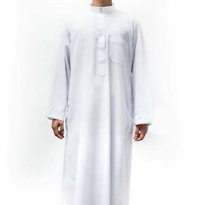 Mens boys Thobes Jubba Long Islamic clothing Plain White 34 36 38 39 40 50 52 54