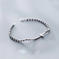 925 Solid Real Sterling Silver Cross Beads Bracelet 17cm For Women