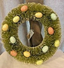 "Bethany Lowe Easter 13"" Bottle Brush Spring Egg Wreath ~ Flocked, Glittered Eggs"
