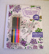 NEW Creative Charm Coloring Book for Adults-Bonus 5 Double Sided Color Pencils