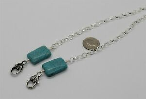 Face mask lanyard Turquoise large rectangle bead with silver chain, 20mm X 30MM