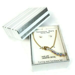 Earing and Necklace Set Sensitive Ears Nickel Free Swarovski Crystal In Gift Box