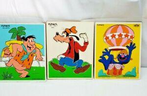 LOT OF 3 VINTAGE PLAYSKOOL WOODEN TRAY PUZZLES Flintstone's, Goofy, Grover