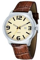Brown Leather Watch Sports Luxury Band Quartz Wrist Casual Men Fashion Analog
