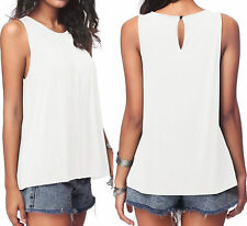 Sexy Womens Summer cotton Sleeveless Vest Shirt Blouse lady Top Size 6-20