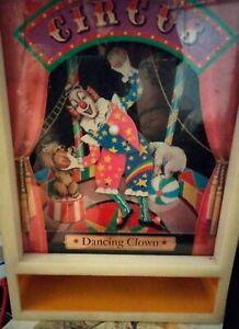 """Vintage Circus Dancing Clown Music Box """"Send in the Clowns"""""""