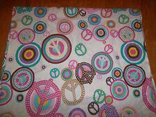 Company kids/company store 4 piece twin set Duvet sheet peace sign pink white
