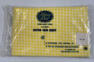 Vtg Nancy Lee Fitted Crib Sheet Yellow Gingham Cotton Blend NOS