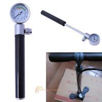 Bicycle Pump With Gauge High Pressure Meter Shock Hand Bike Air Supply Inflator