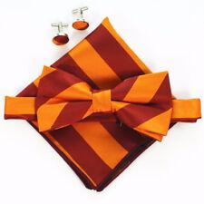 (B15)Orange Red Stripe Men Bowtie Set With Cufflinks Pocket Square Boy Bow Tie