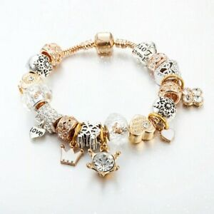 Pandora Inspired Gold Silver Charm Bracelet. Gold Charm Bracelets. Gift Ideas
