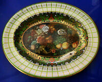 Vintage DAHER Decorated Ware Oval Tin BOWL Serving Dish, Green, Flowers, Fruits