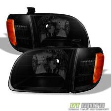 For Blk Smoke 2000-2004 Toyota Tundra Regula/Access Cab Headlights +Corner Lamps